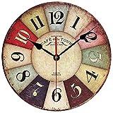 LYTZX Reloj de Pared de Madera de 12 Pulgadas de diseño Elegante Moderno de la Vendimia Redonda silencioso Fácil de Vida Perfecto for Decorar la Oficina café Dormitorio