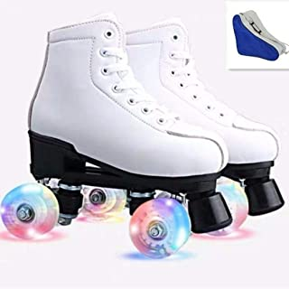 Women's Roller Skates Pu Leather Four-Wheel Roller Skates High-Top Roller Skates Outdoor Shiny Roller Skates for Adults, Boys, Girls