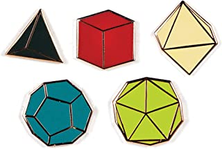 Platonic Solids Enamel Pin Set - 5 Unique Colored Metal Lapel Pins
