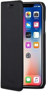 CASEZA Funda iPhone XS/Case iPhone X Negro Tipo Libro Piel PU Cover Carcasa Plegable Cartera Oslo Piel Vegana Premium para iPhone XS/X / 10S / 10 Original - Ultrafina con Cierre Magnético