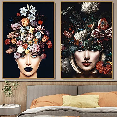 OCRTN Cuadro escandinavo en Lienzo para Sala de Estar, Mujer HD con Flores en la Cabeza, póster, Pinturas Decorativas Modernas, 50x70cmx2, sin Marco