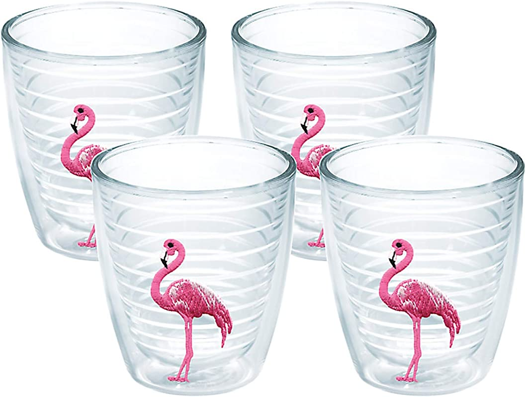 Tervis 1035792 Flamingo Tumbler With Emblem 4 Pack 12oz Clear