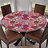 "Elastic Edged Polyester Fitted Table Cover,Peonies Blackberry and Wild Flowers in Vintage Style Colorful Nature Yard Decorative,Fits up 45""-56"" Diameter Tables,The Ultimate Protection for Your Table,M"