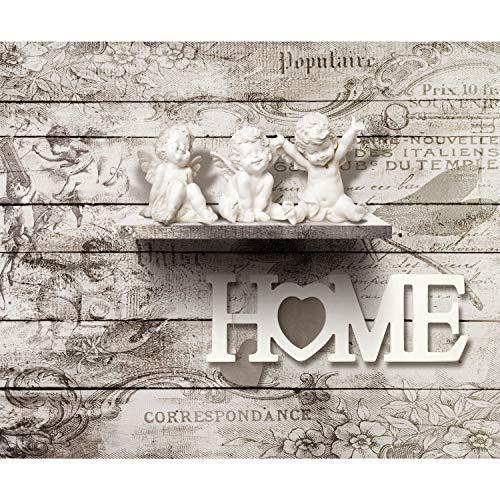 decomonkey Fototapete selbstklebend Home Engel 343x256 cm XXL Selbstklebende Tapeten Wand Fototapeten Tapete Wandtapete klebend Klebefolie Haus Herz Vintage