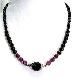 Handmade Black Onyx, Amethyst and Black Tourmaline Stretch Healing Necklace 17 inches