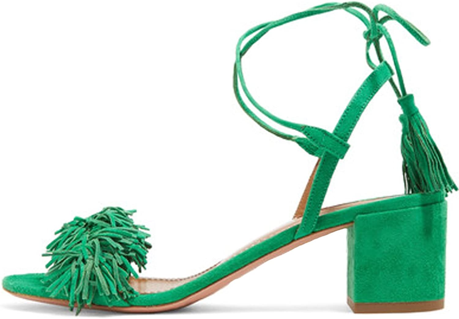 Comfity Block Heels for Women Women's Lace up Sandals Fringed Tassel shoes Ankle Ties Dress Sandals