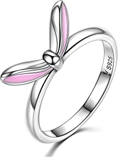925 Sterling Silver Rings Cute Rabbit Bunny Ears Rings for Women and Girls Size 6 7 8 (6)