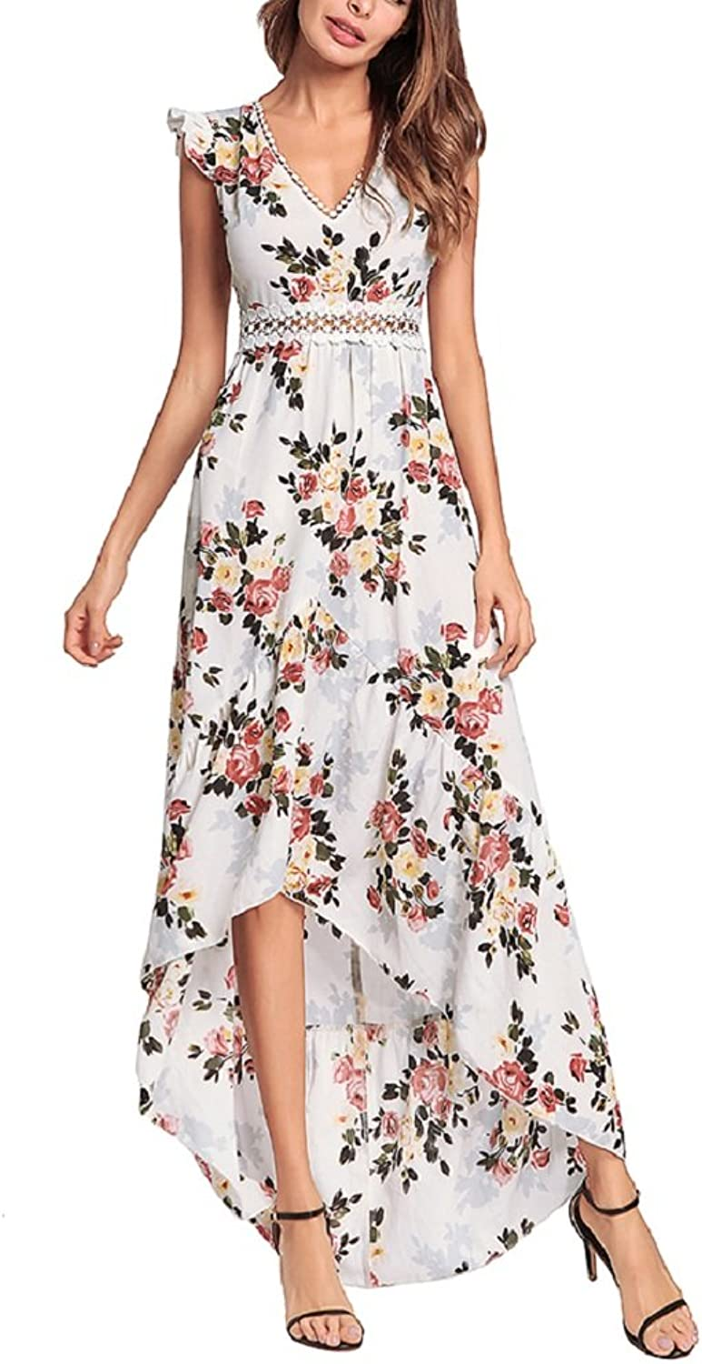 BILIKE JOMEX Elegant Backless Floral Maxi Dress High Low Sexy Cocktail Party Dress