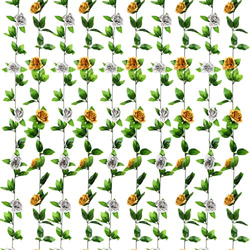 WILLBOND 4 Pieces 7.7 Feet Valentine's Day Wedding Rose Vine Artificial Rose Vine Hanging Flower Garland for Home Wedding Party Garden Hotel Office Decor (Black and Purple)