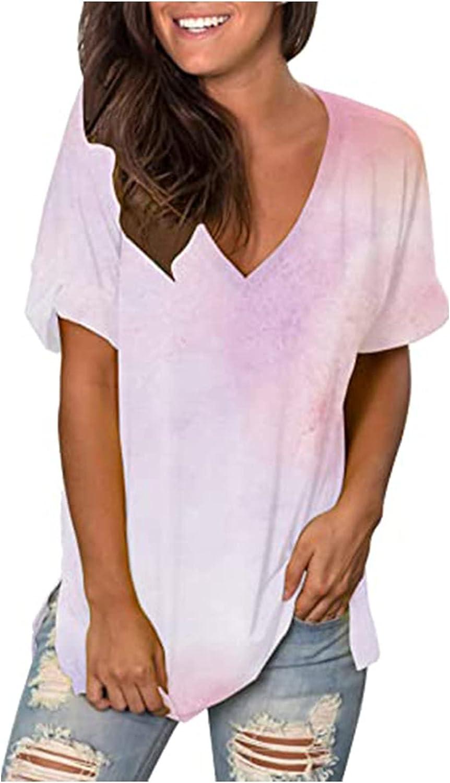 Max 46% OFF Max 41% OFF Summer T-Shirt Fashion Women's V-Neck Tie-Dye Casual Short-Sleev