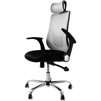タンスのゲン オフィスチェア ハイバック 跳ね上げ式 アームレスト メッシュ ランバーサポート ロッキング デスクチェア 椅子 チェア シルバー 65090110 SL (44748)