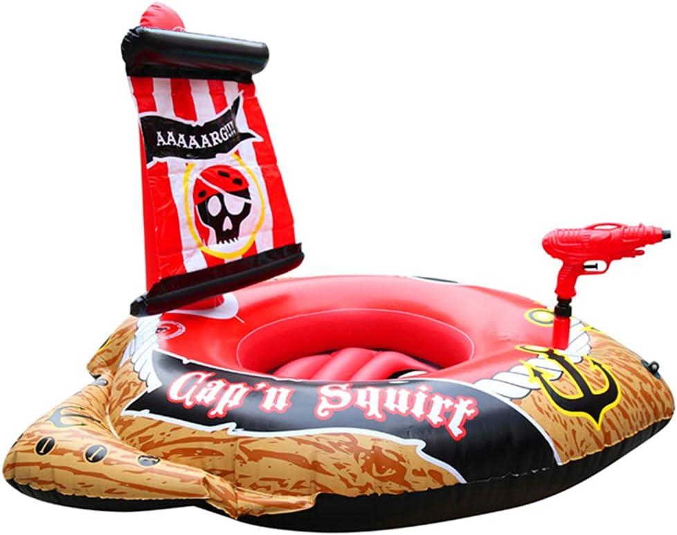 Anillo De Natación De Barco Pirata, Juguete De Coche De Agua Inflable De Piscina Grande Juguete De Verano Flotador De Piscina Inflable Balsa De Agua Paseo En La Piscina Tumbona Novedad Juguete