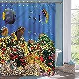 Tenda da doccia Rustica Tenda da doccia Colonia di barriera corallina sommersa Oceano con ganci