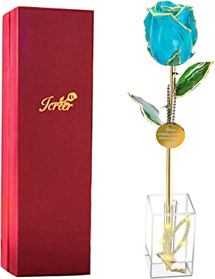 Valentines Day 24k Gold Rose Gifts for Women/Mom/Wife, for Her on Anniversary Birthday Mother's Day Christmas Xmas,Fresh Bud Rose Last Forever and Never Fade(Angel Stand)