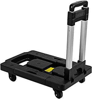 Foldable Hand Truck Capacity 300 lbs - ZIPSAK Collapsible 360° Rotating Platform Cart Dolly with Swivel Locked Casters Tro...
