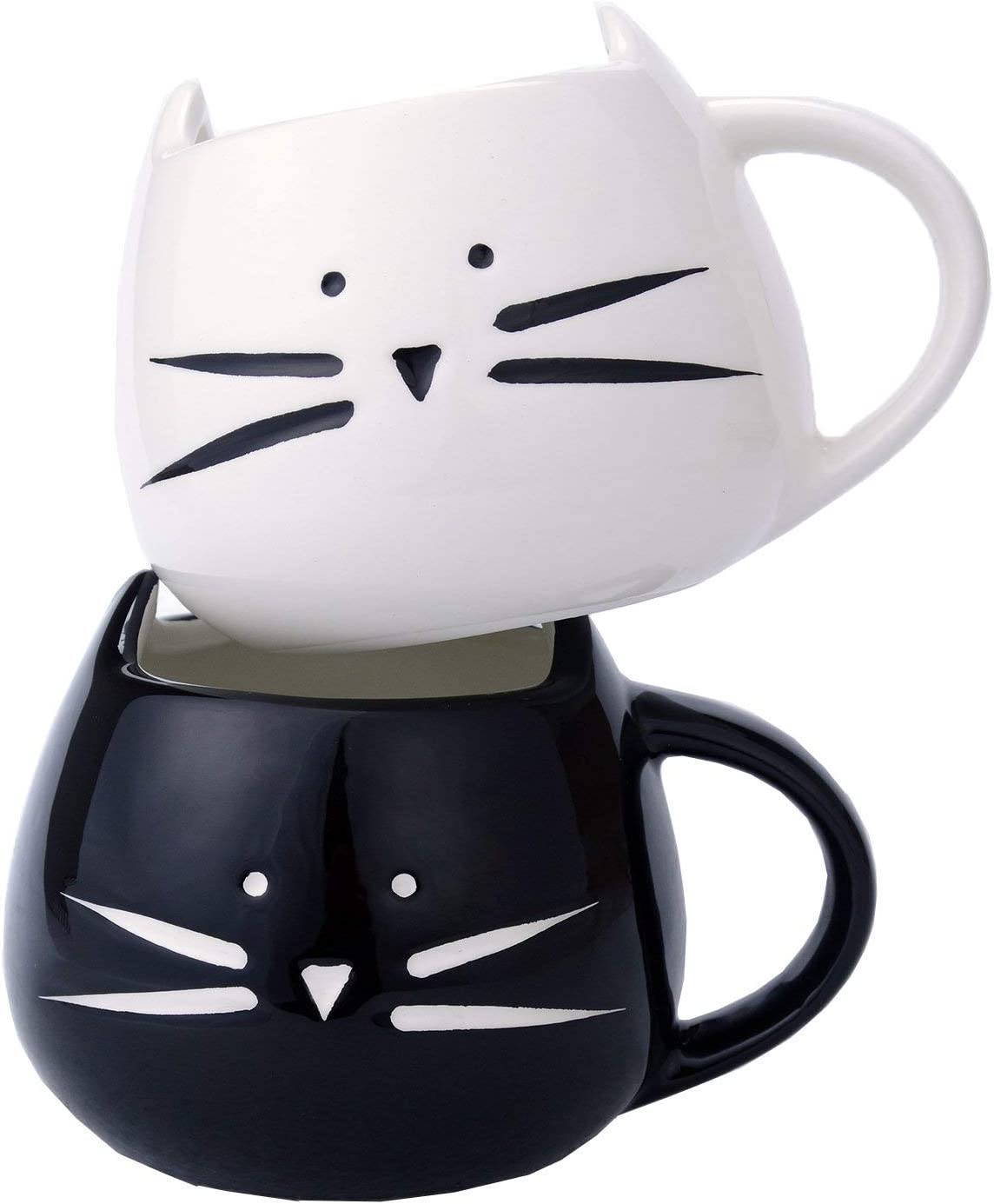 Ilyever 2 Pack Funny Cute Cat Coffee Tea Milk Ceramic Mug Cup Best Gift for Christmas and All Holliday Special Day,White+Black