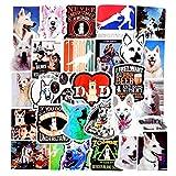 BBKB Pegatinas de Graffiti de Perro Blanco de Pastor de Animales para Bicicleta DIY, álbum de Recortes, monopatín, Snowboard, Pegatina para Ordenador portátil, 50 unids/Set