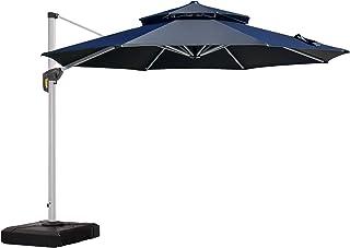 PURPLE LEAF 10 Feet Double Top Round Deluxe Patio Umbrella Offset Hanging Umbrella Outdoor Market Umbrella Garden Umbrella, Black