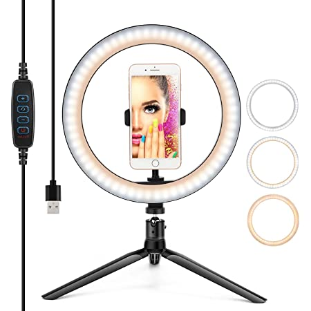 Desktop LED Ring Light 10/'/' with Adjustable Tripod Stand and Phone Holder TBJSM Dimmable Selfie Ring Light for Makeup Live Streaming and YouTube Video Shooting TikTok