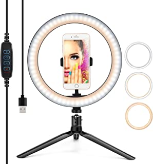 "10"" Ring Light LED Desktop Selfie Ring Light USB LED Desk Camera Ringlight 3 Colors Light with Tripod Stand iPhone Cell Ph..."