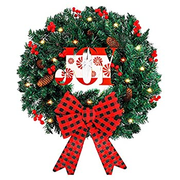 Funarty Artificial Christmas Wreath and 50 LED Lights 24 Inches Winter Wreath with Bowknot for Christmas Party Home Frontdoor Holiday Decor