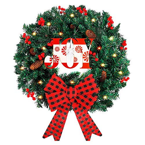 Funarty Artificial Christmas Wreath and 50 LED Lights, 24 Inches Winter Wreath with Bowknot for Christmas Party Home Frontdoor Holiday Decor