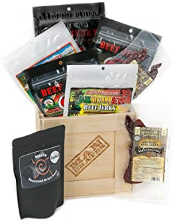 Man Crates World Tour Jerky Crate – Includes 8 Deliciously Rare Jerky Flavors From Five Continents – Including Sriracha Style, Saki-Teri-Yaki and More – Great Gifts for Men