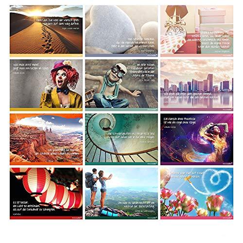 2x 12 Postkarten mit Sprüchen I dv_239 I DIN A6 I Spruch-Karten Set lustig witzig Zitate Foto Liebe Freundschaft Motivation für Bilderrahmen 24er Set