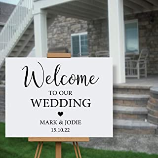 Welcome Sign Decal to Greet Your Wedding Decoration Personalized Name Wall Sticker for Your Easel Mirror Perspex Decor N087