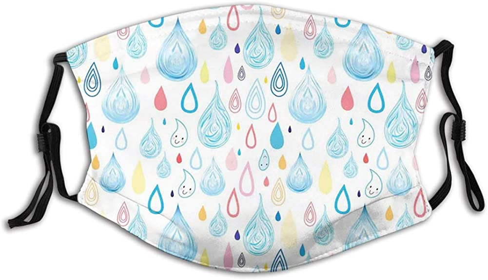 Various Large and Small Heavy Rain Drops Fluid Squall Windproof Face Mask,Reusable,Washable Cloth,Face Cover,Cover for Men Women