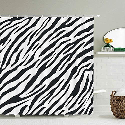 Zebra Tier Duschvorhänge mit Haken wasserdichte Badezimmervorhänge Dekoration Druck Waschbar Bad Bildschirm S.6 90x180cm