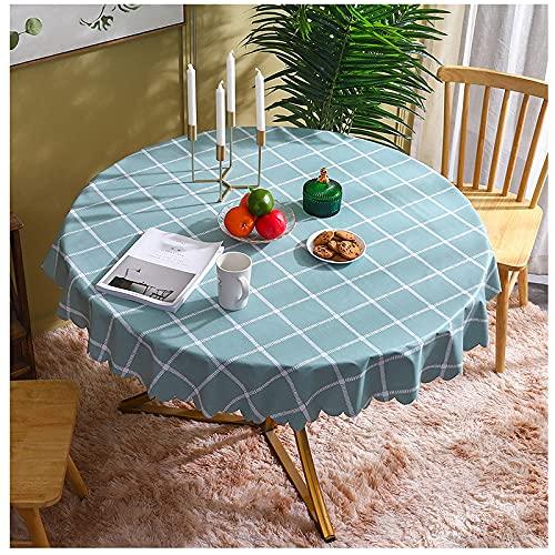 Manteles redondos para limpiar, frijol, verde, cuadrícula, moderno, resistente a las manchas, mantel de PVC, mantel de hule, cubierta de mesa, decoración de mesa navideña para comedor, fiest