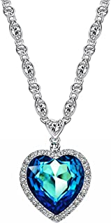 Blue Crystal Heart Pendant Necklace For Women 21