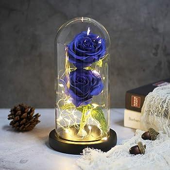 Kapmore Rose /éternelle Bleu Rose Fleur /éternel Bo/îte de bague Avec une Belle Bo/îte-cadeau Comme Cadeau danniversaire de F/ête des M/ères de No/ël ou Cadeau de F/ête Pour Maman Fille ou Amant
