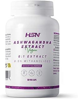 Ashwagandha de HSN | 400mg | Extracto Estandarizado 8:1 | Con 8,5% de Withanolides | Ginseng Indio | Reduce el Estrés | Ve...