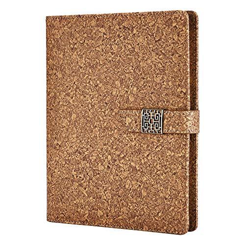 Cuaderno de Cuero A5,SEEALLDE Cuaderno Recargable de Composición Cuaderno de Negocios con Bolsillo Diario de Viaje Carpeta de Conferencia Cuaderno 240 Páginas Gruesas per Regalos(Bronceado suave)