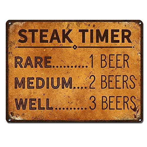 Steak Timer - Rare 1 Beer, Medium 2 beers, Well Done 3 Beers, 9 x 12 Inch Metal Sign, Funny Beer Signs, Man Cave, Brewery, Bar, Decor and Gifts for Beer Lovers and People who BBQ, RK3018 9x12
