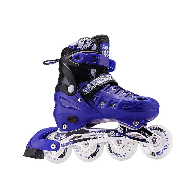 旋回アートヘルパーJIANXIN インラインスケート、子供用アダルトローラースケート、男性と女性の初心者に最適、スケート靴、フラッシュホイール付き、青