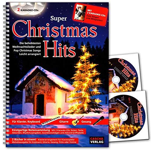 Super Christmas Hits mit 2 Karaoke-CDs : 2 Bücher in einem Klavierarrengement für Klavier Melodieausgabe für Keyboard, Gitarre, Flöte - Cascha Verlag - HH1004-4026929915047