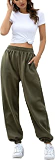 Fixmatti Women Casual Sweatpants High Waist Active Jogger Pant Pockets Army Green M