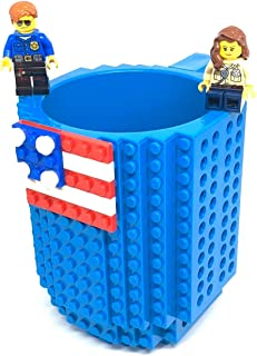 Build-On Brick Mug With 2 Packs Of Building Blocks Latest Version Compatible Water Coffee Bottle And Tea Creative Cup American Flag Halloween Christmas Unique Novelty Kids Gift Blue