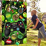 Video Game Toss Games Banner with 3 Bean Bags, Game Theme Birthday Backdrop with Green Background and Game Controller Print, Video Game Party Decorations Supplies, Throwing Games for Teens and Adults