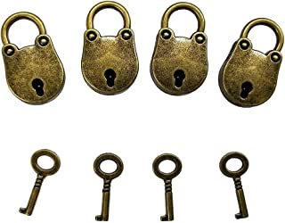 Aoyoho 4Pcs Vintage Antique Style Mini Bear Archaize Padlocks Key Lock with Key