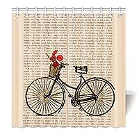 YFeng 加重 90 x 180 cm シャワーカーテン 防水防カビ加工 カーテンリング付属 ハウス ファッション自転車の新聞