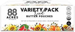 88 Acres, Organic Seed Butter Variety Pack, Single-Serve Squeezable Pouch, Nut-Free, Non-GMO, Dairy-Free, 14 Pouches (1.16 Oz)