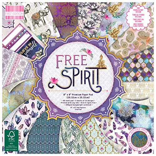"""First Edition FEPAD213 FSC 8x8 Paper Spirit-48 Sheet Pad, 200gsm Heavyweight Cardstock, Acid & Lignin Free, Soy Inks-for Card Making, Scrapbooking, Home Decor & Papercraft, Multicolour, 8""""x8"""""""