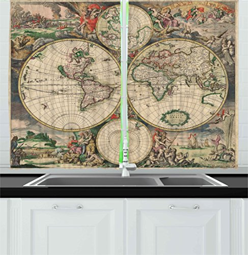 Ambesonne Vintage Kitchen Curtains, An Antique Old Aged Map of the World Historical Inspired by Geography Theme of Retro Design, Window Drapes 2 Panel Set for Kitchen Cafe Decor, 55' X 39', Soft Beige