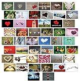 Tarjetas postales, amor, set de 20o de 50, distintos motivos, amor, corazones, boda, 50 Set
