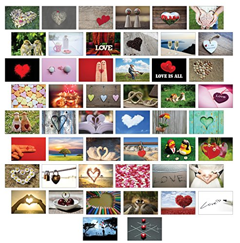 Postkarten Liebe 50 Set, alles verschiedene Motive/Liebe/Herzen/Hochzeit