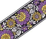 Heritage Trim Ruban Bricolage Large Jacquard Garniture avec des Fleurs pourpres Olive Citron 3¾ Large 3...